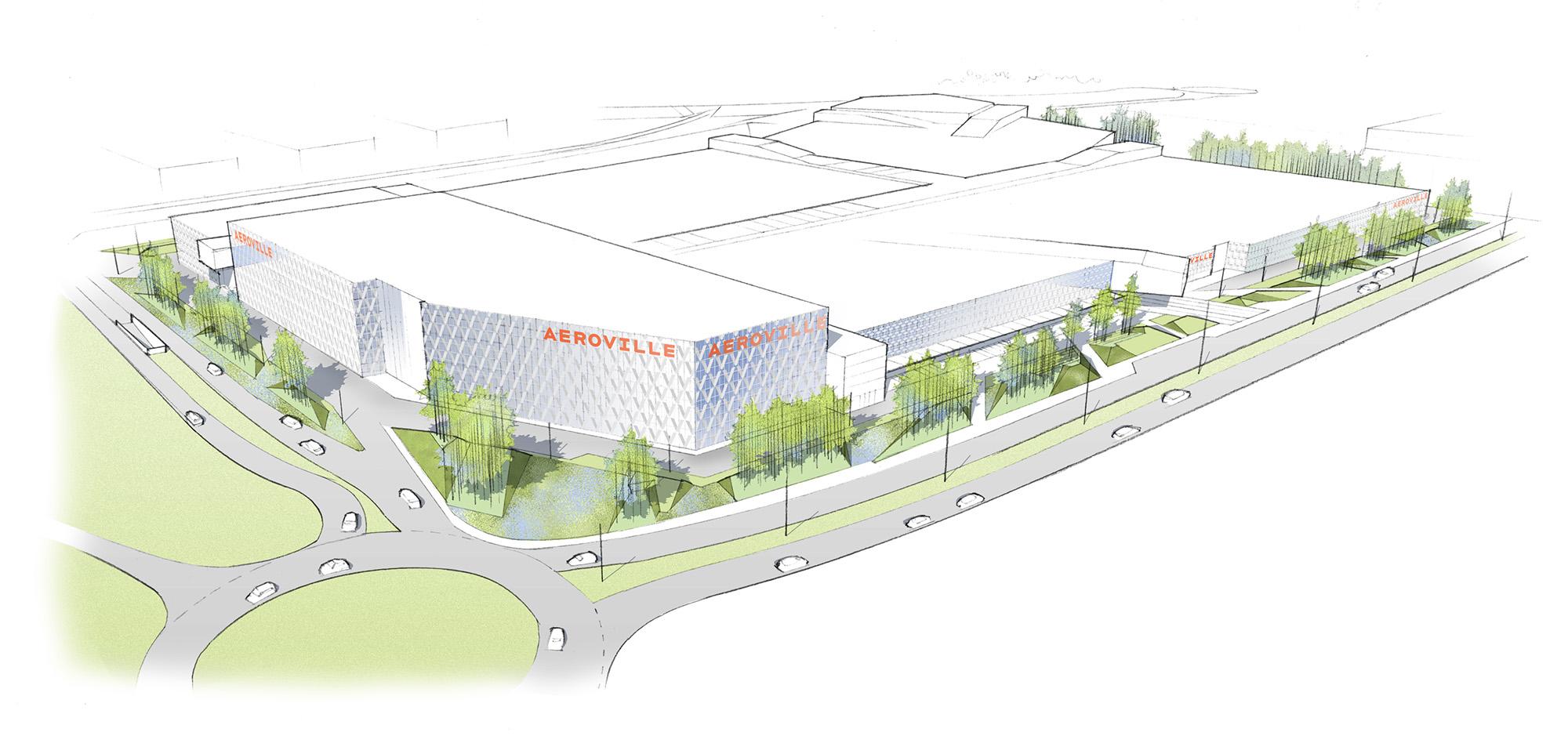 Vue aérienne du projet de mise en scène paysagère de la façade