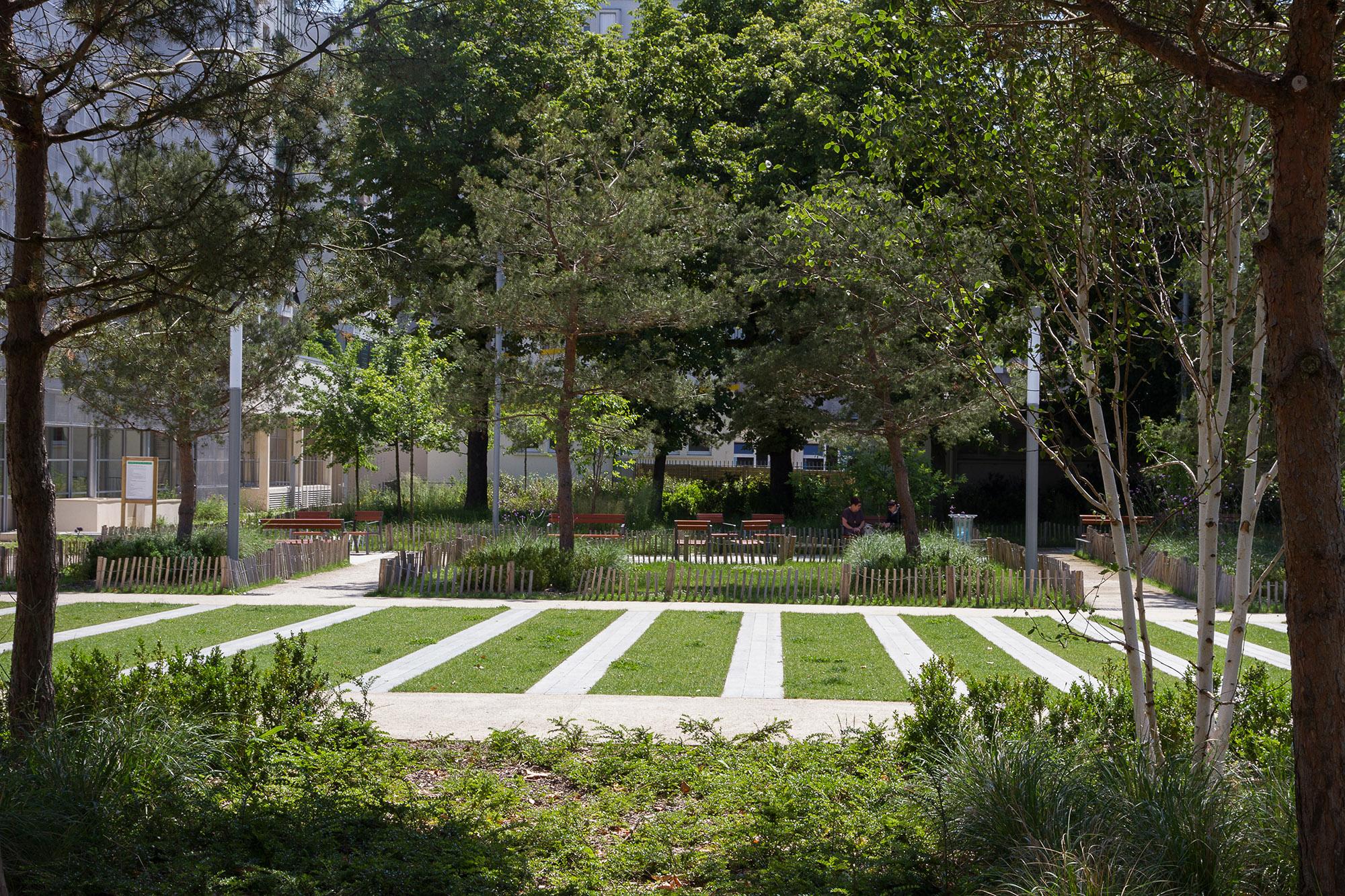 Le tapis vert et en fond, les salons du square