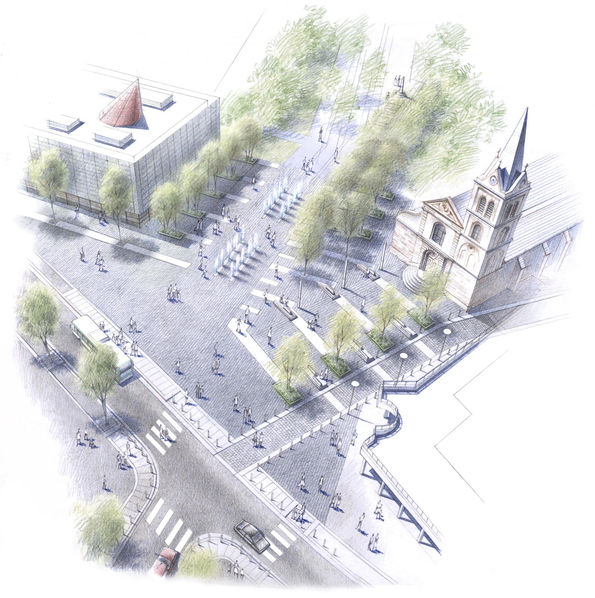 Perspective aérienne sur la Place René Clair