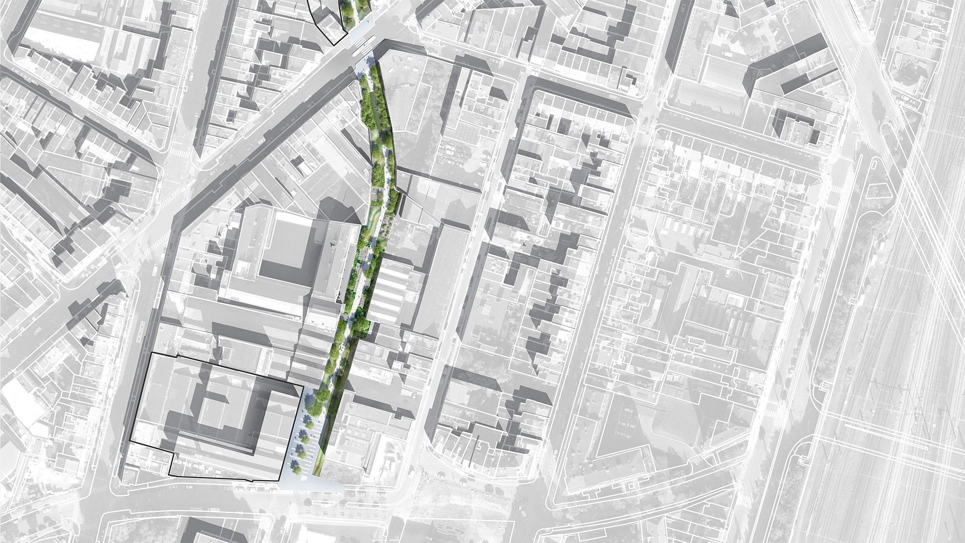 """Plan masse de la première section """"Héliport-Masui"""" du parc linéaire de la Senne"""