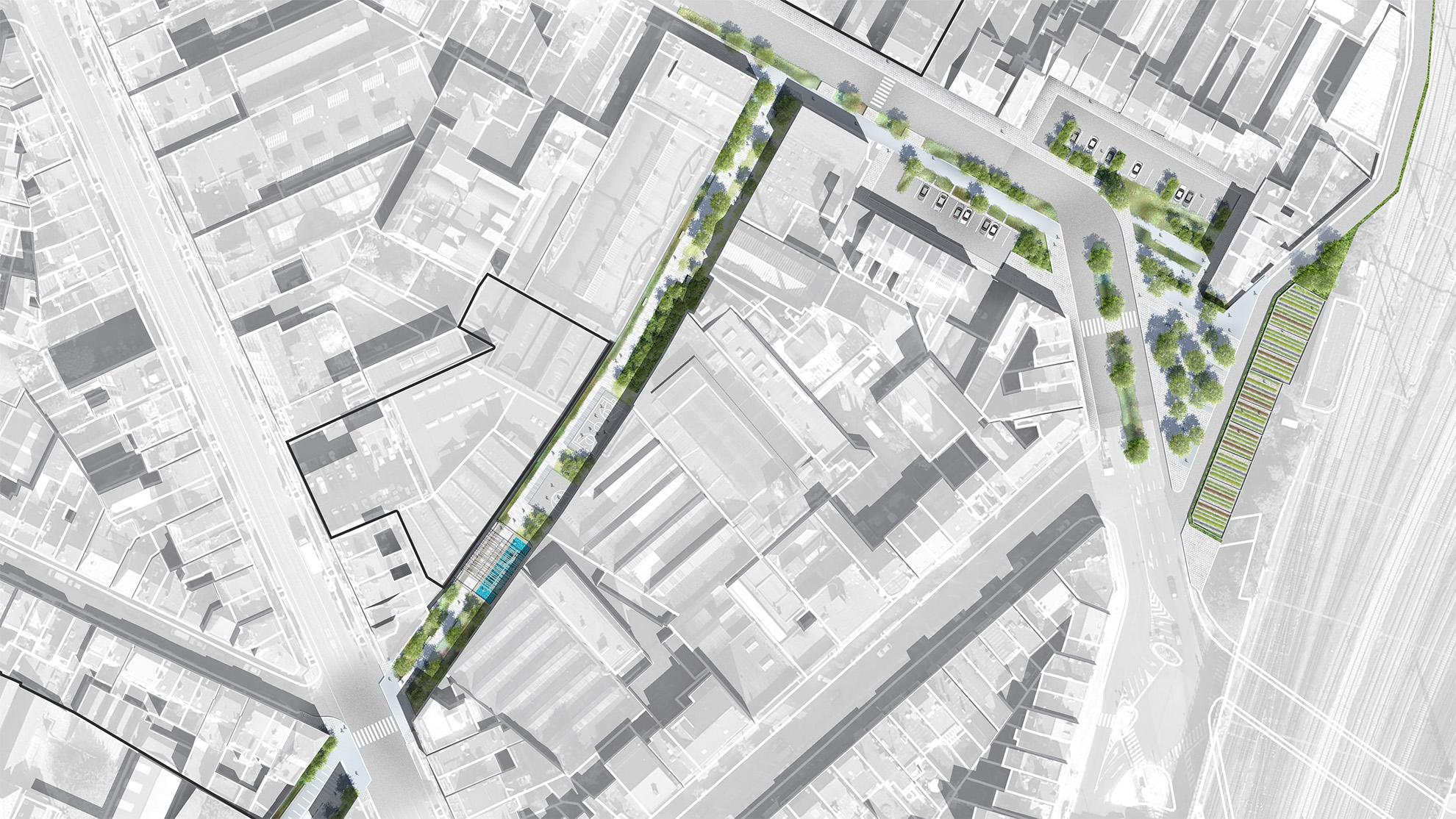 """Plan masse de la troisième section """"Reine-Palais"""" du parc linéaire de la Senne"""