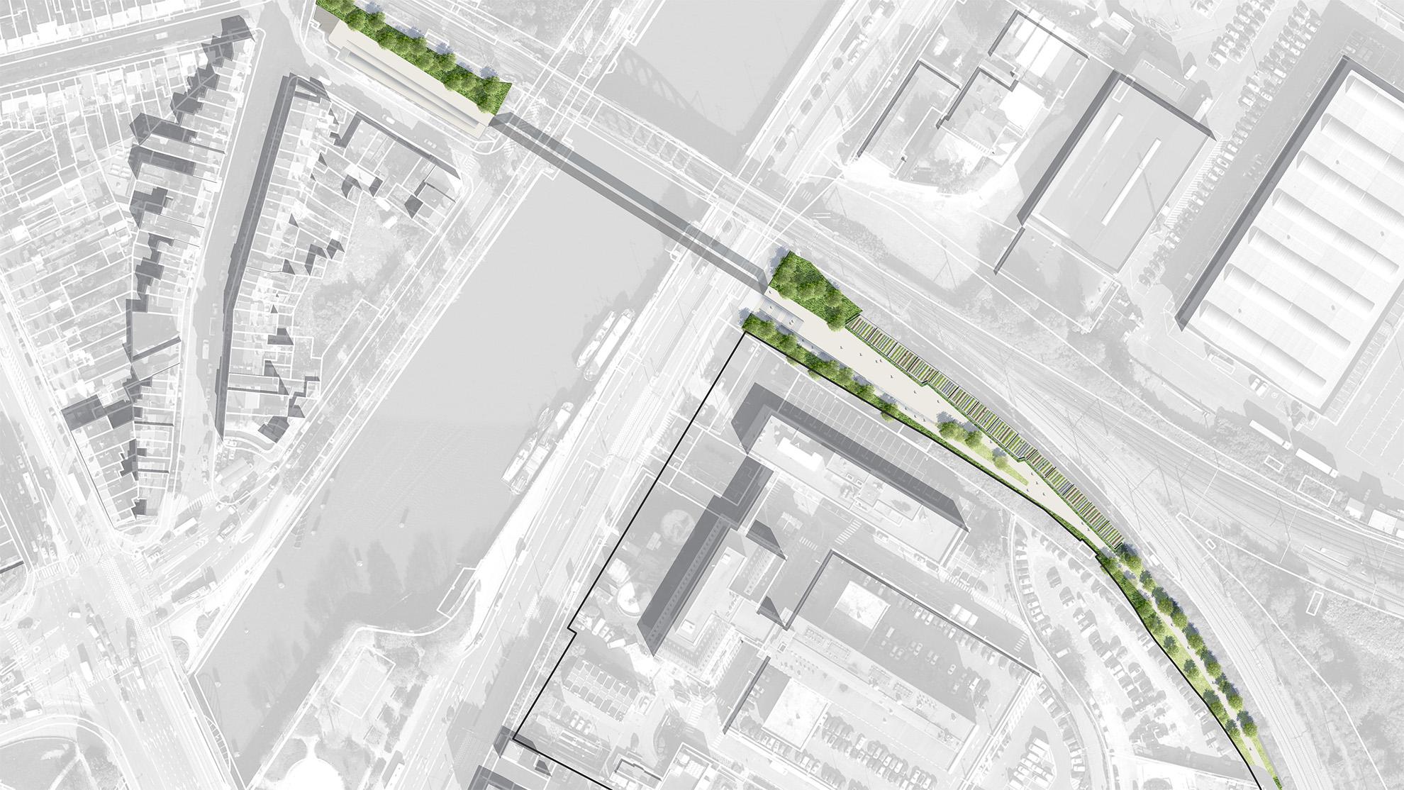 Plan masse de la quatrième section du parc linéaire de la Senne des jardins partagés