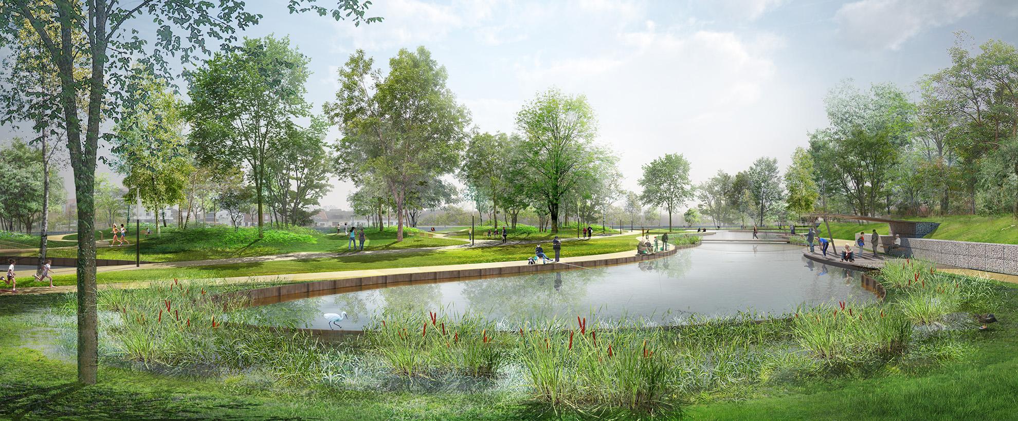 Perspectives sur l'étang de pêche et l'arboretum