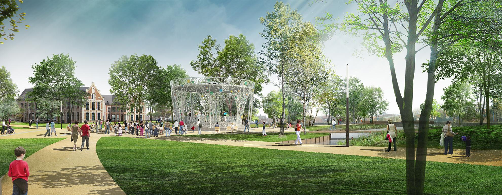 Perspective d'ambiance sur le kiosque musical du Parc de Wambrechies