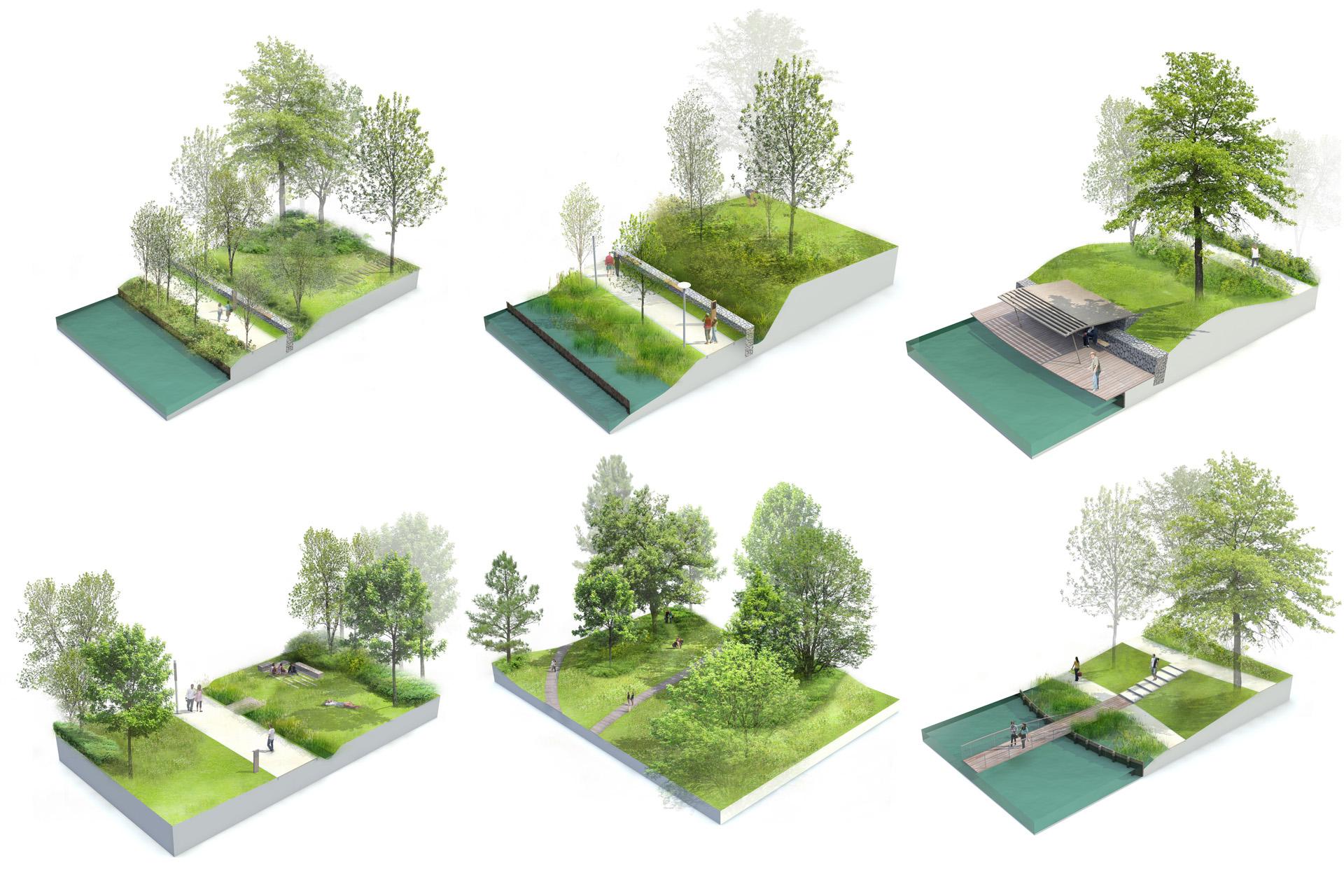 Blocs 3D éclatés sur les thématiques d'aménagement du Parc de wambrechies