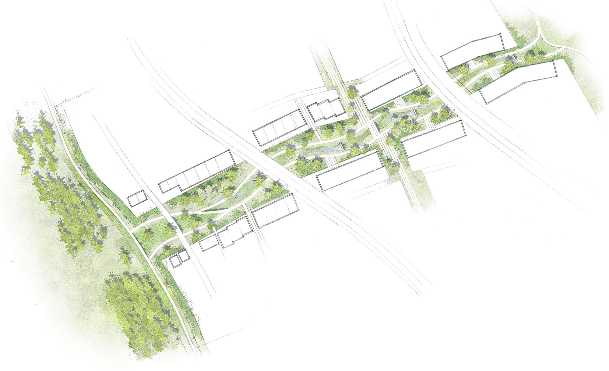 L'allée centrale et la frange péri-urbaine