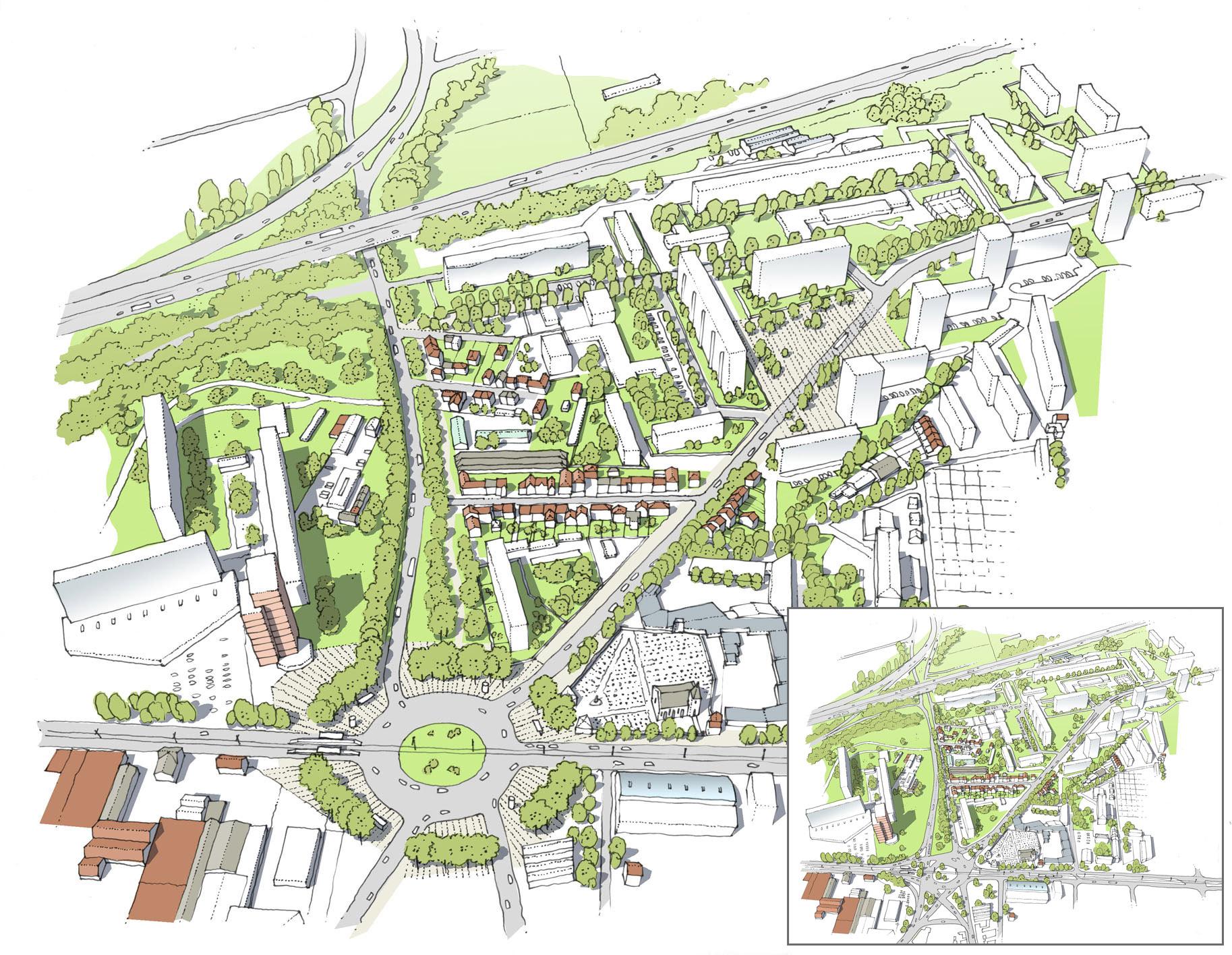 Proposition de reconquête du carrefour des 6 routes, amélioration des liens avec le parc de la courneuve et définition d'espaces publics de liaison au sein des 4000 - avant / après