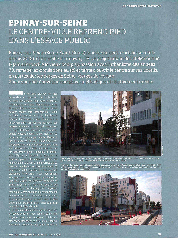 Traits urbains numéro 72 - Le centre d'epinay retrouve l'espace public page 1