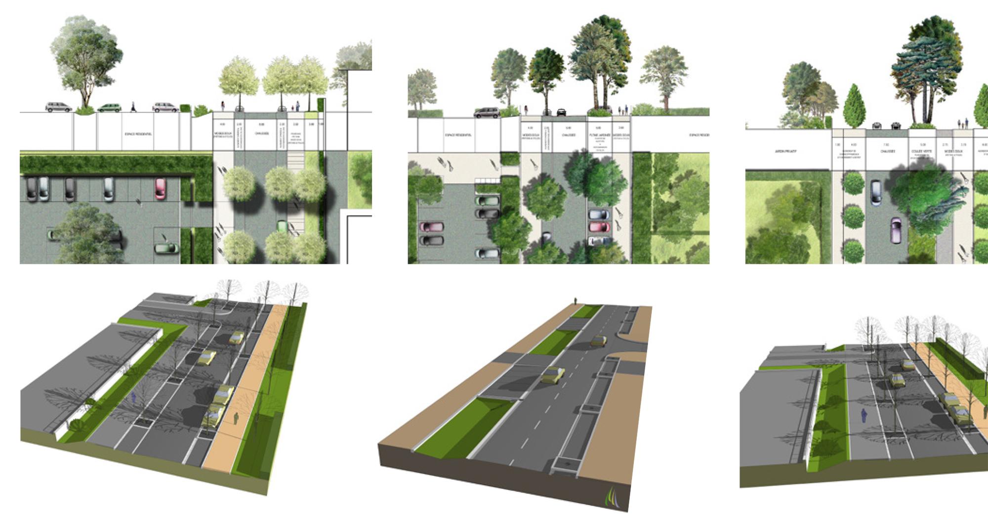 Coupes, plans et bloc 3D sur les avenues principales du quartier